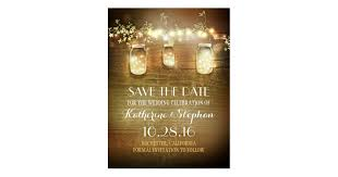 Rustic Save The Date Lights U0026 Mason Jars Rustic Save The Date Postcard Zazzle Com