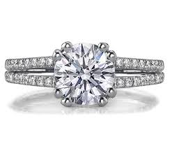 double engagement rings images Engagement ring double band u shape pave prongs diamond jpg