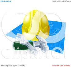 clipart of a 3d builder hardhat and tools over blueprints