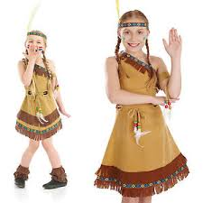 pocahontas costume childrens indian squaw girl fancy dress costume indian