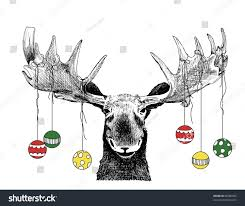 funny christmas card moose design cute stock illustration 88586692
