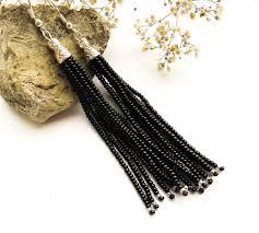 tassel earrings long earrings beaded earrings black fringe