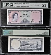 banknote yearbook p 50 aunc jamaica 1960 1961 10sh banknote pmg graded ga 839515