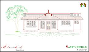 Front Elevations Of Indian Economy Houses by Architecture Kerala 3 Bhk Single Floor Kerala House Plan And