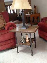 Wood Slab End Table by Oak Slab End Table With Black Iron Pipe Legs Tables Pinterest