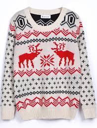 s deer print pullovers sweater on luulla