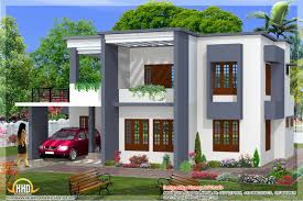 square feet bedroom simple flat roof home design house plans