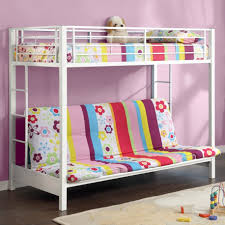 bedroom white iron girls loft bed wit stair and sofa underneath