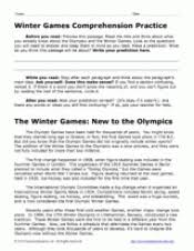 winter olympic games reading comprehension worksheet teachervision
