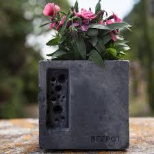 Concrete Planter Green U0026 Blue Mini Beepot Concrete Planter Bee Hotel Black By Design