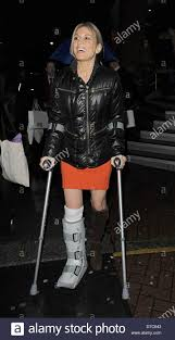 hofit golan leaving the paige denim cocktail party on crutches