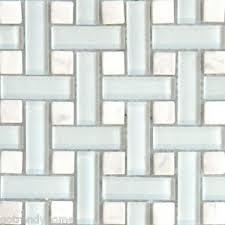 sample white basketweave glass and stone mosaic tile kitchen