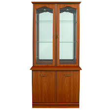 Wood Display Cabinets With Glass Doors High Brown Wooden Cabinets With Glass Doors On The Top