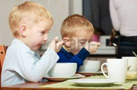 Kids Eating Table Two Blond Brothers Boys Kids Children Eating Corn Flakes Breakfast
