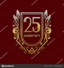 twenty fifth anniversary twenty fifth anniversary vintage logo symbol golden emblem with