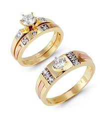Princess Wedding Rings by 14k Solid Tri Color Gold Round Princess Wedding Rings Trio Sets