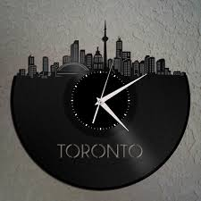 wall clocks canada home decor toronto skyline canada cityscape clock canadian gift for