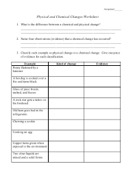 physical and chemical change worksheet worksheets