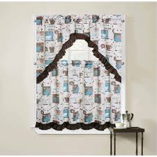 damask kitchen curtains better homes and gardens damask ogee kitchen curtains set of 2
