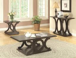 703148 coffee table 3pc set in cappuccino by coaster w options