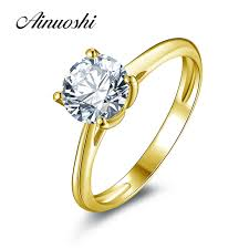 aliexpress buy 2ct brilliant simulate diamond men ainuoshi 10k solid yellow gold wedding ring 1 25 ct solitaire