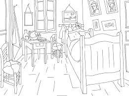 chambre de gogh coloriage tableaux celebres gogh la chambre à coucher 8