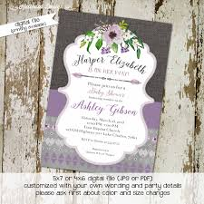 purple and grey baby shower invitations tribal baby shower invitation boho bridal shower wedding arrows