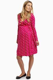 fuchsia polka dot draped tie maternity dress