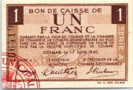 chambre de commerce colmar banknote 1 franc colmar chambre de commerce série a