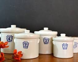 stoneware kitchen canisters vintage pfaltzgraff canisters numbered containers stoneware