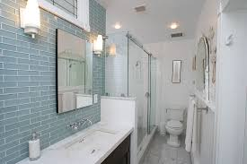 tile backsplash bathroom eclectic with bathroom blue glass shower