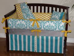 Yellow And Gray Crib Bedding Set White And Yellow Chevron Turquoise Damask 3pc Bedding