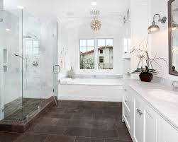 Dark Floor And Light Walls Bathroom Design Ideas Renovations  Photos - White cabinets dark floor bathroom