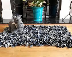 Denim Rag Rug Upcycled Rag Rug Etsy