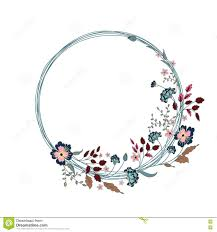 round wedding invitations floral frame retro flowers arranged in a shape of the wreath for