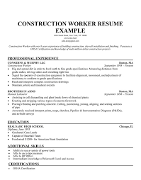 construction resume exles construction worker resume exle professional experience