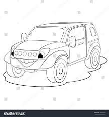 jeep cartoon drawing cartoon merry car minijeep coloring book stock vector 180988340