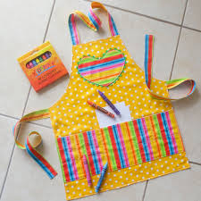 kids crayon apron yellow childs polka dots apron kids craft