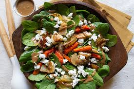 root vegetable salad with balsamic date dressing