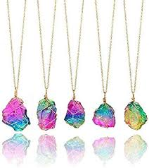 crystal stones necklace images Firstfly rainbow stone pendant necklace irregular jpg