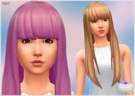 custom hair for sims 4 super long hair with short bangs at david sims sims 4 updates