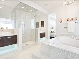 white elongated toilet shower with glass door dark brown color