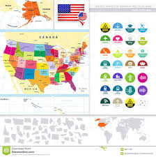 Political Map Of Canada Political Map Of The Usa With It U0027s States And Flat Icon Set Stock