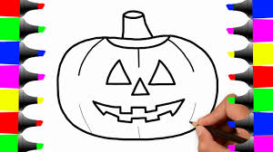 how to draw halloween pumpkin coloring pages for kids learn