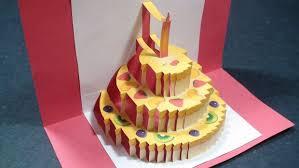 birthday cake pop up card happy birthday kirigami free template