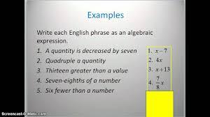 translating verbal expressions into algebraic expressions worksheets translating phrases into algebraic expressions