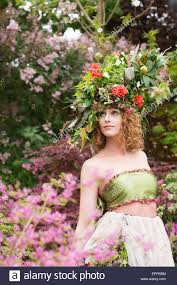flower headdress rhs chelsea flower show model with a large floral headdress at