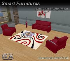 second life marketplace comfy red livingroom set furniture