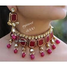 pink necklace set images White and pink necklace set at rs 4000 set kamla nagar agra jpg