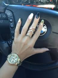 black white and gold oval nails nails pinterest oval nails